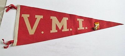 Vintage V.M.I. Virginia Military Institute College Football Pennant 1940's + Pin