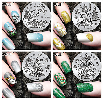 PIASTRA per NAIL ART Stamping di NATALE-CHRISTMAS Plate stamping TEMPLATE !!