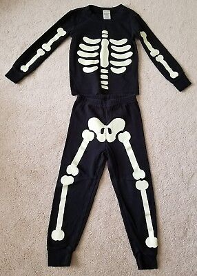 Gymboree toddler Halloween skeleton pajama pjs size 4T ~ glow in the dark!