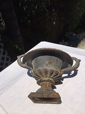 Ornate mini iron porch urn CRUSTY RUSTY garden decor display