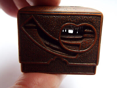 Antique Japanese carved Boxwood Netsuke of a Chest of Dreams , signed Tamakazu