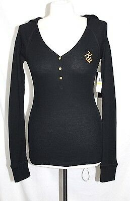 Rocawear  - Junior's M - NWT - Black & Gold Logo Fitted Hoodie Thermal Knit Top