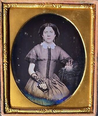 Beautiful Young Woman Red Tinted Lips Lace Gloves 1/6 Plate Daguerreotype D618