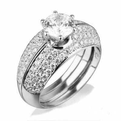 14 Kt White Gold Round Diamond Ring Side Stones 2.5 Ct Colorless Vvs1 D Women