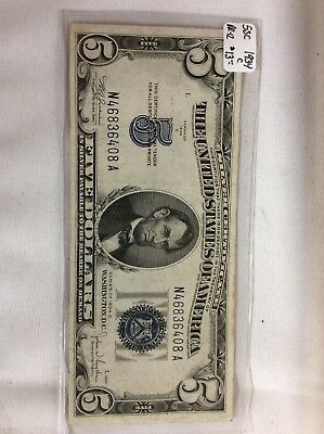 1934-C $5 US Silver Certificate Collectible