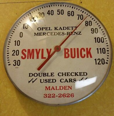 SMYLY BUICK DOUBLE CHECKED USED CARS metal & glass advertising thermometer sign