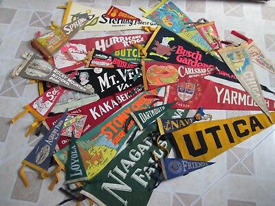 Vintage Felt Pennants Lot of 25 Souvenir Travel College 1940's 1950's 1960's
