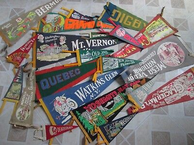 Vintage Felt Pennants Lot of 21 Souvenir Travel College 1940's 1950's 1960's