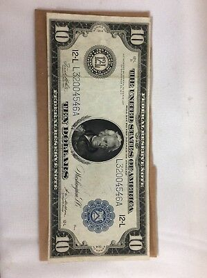 1914 $10 US Federal Reserve Note Collectible
