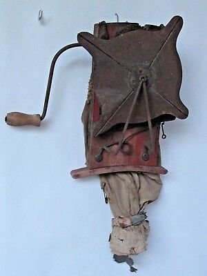 Antique Small Primitive Farm Seeder with Attached Bag