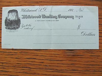 Whitewood Banking Co. (Whitewood, SD) Bank Cheque