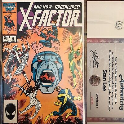 X-Factor #6 First Appearacne Of Apocolypse Signed By Stan Lee W/ COA Xmen