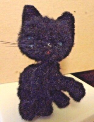 Vintage Old Antique Kunstlerschutz Handwork West Germany Black Cat Green Eyes