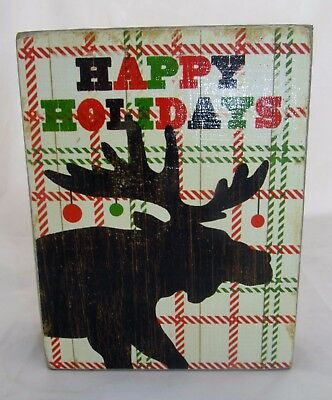 Moose Christmas Greeting Card Wall Decor Wood Sign Country Primitive Lodge Cabin