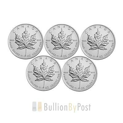 5 x 1oz Silver Maples
