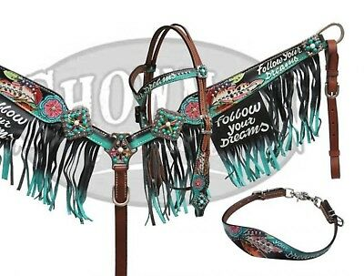 """Showman Painted """"Follow Your Dreams"""" Headstall Breast Collar Wither Strap Set!"""