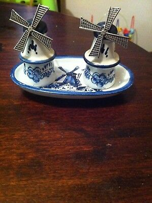Delft blue salt and pepper shakers with tray
