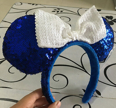 Disney Parks Minnie Mouse White Bow Blue Sequins Ear Headband Costume Party