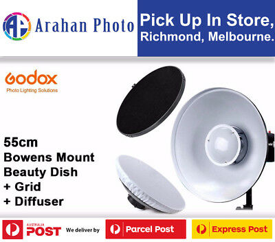 Godox 55cm Silver Beauty Dish with Grid and Diffuser