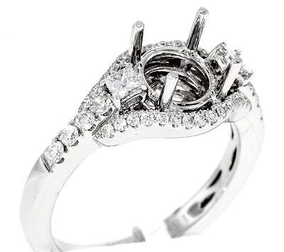 VS1 Diamond Engagement Ring Setting 3 Stone 18k White Gold 0.62ct