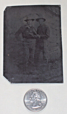 Antique 6th PL Tintype Photo BOWIE KNIFE Armed Soldiers Renegade Outlaws Cowboys