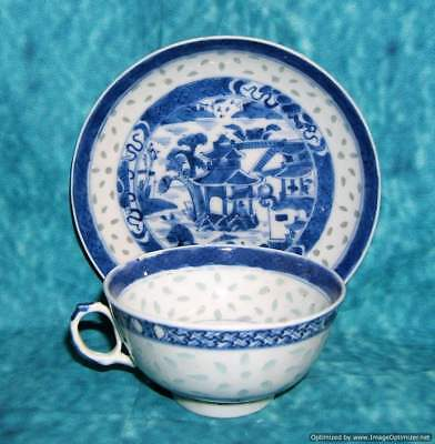 Antique 19th C. Chinese Porcelain Cup Saucer Signed Kangxi Nanking Willow