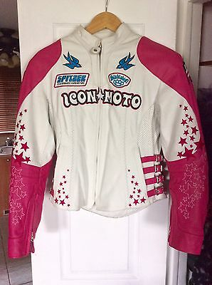 ICON Bombshell Go-Go Genuine Leather Woman's Motorcycle Jacket (Size Small)