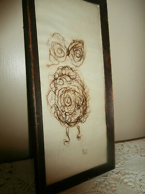 Weird Antique Vintage Folk Art Owl Art~Made From Hair Or Fibers~Signed~Unique