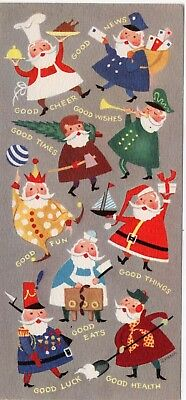 Santa Claus All Shapes and Sizes with Good Wishes VTG Greeting Card Christmas