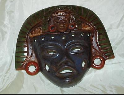 Teotihuacan Mexico Handcrafted Mexican Pottery Clay Warrior Mask
