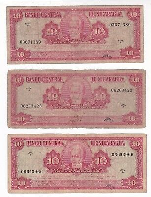 Nicaragua: Banknote - 3 X 10 Cordobas 1962 Serie A (A582)