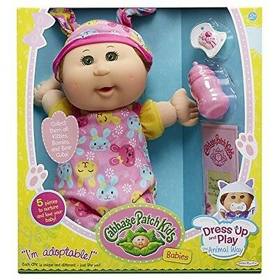 """Cabbage Patch Kids 12.5"""" Baby Brown Hair Girl Doll, Green Eyes"""