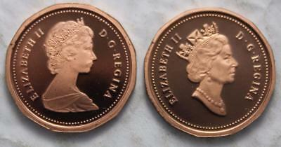 Canada 1984 & 1990 Mint Proof Small Cents, Ultra Heavy Cameos, High Grades