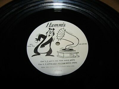 "HAMM'S beer 1950's DISTRIBUTOR  33-1/3 RECORD  ""All year round radio spots"" etc"