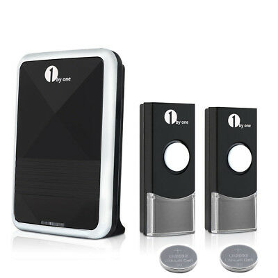 1byone Wireless Digital Doorbell 2 Remotes 36 Chimes IP44 Waterproof & Portable