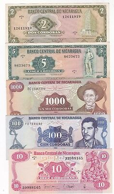 Nicaragua: Banknote - Lot Of 5 Old Notes - 1972, 1979 & 1985 Nice Grade (A640)