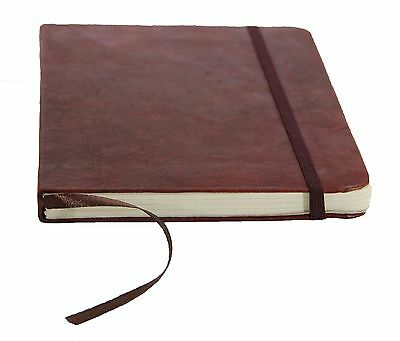 Handmade Leather-Bound Journal with Handmade Parch Paper & Elastic Secure Strap