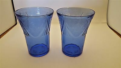 2  Vintage Hazel Atlas Glass Cobalt Blue Royal Lace 9 oz Glasses Tumblers