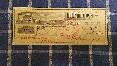 Quincy, Il., Emminga check, on Ricker National Bank, to Ruff brewing, Co., 1893