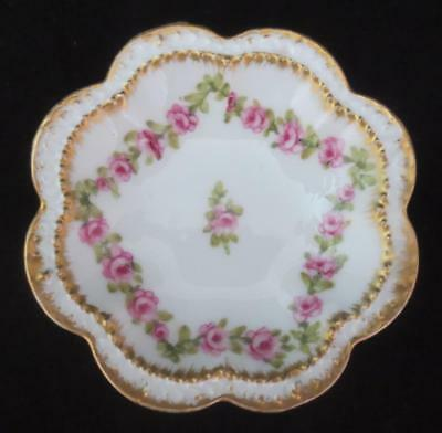 Antique THEODORE HAVILAND Limoges SCALLOPED BUTTER PAT Rose Swags, Double Gold