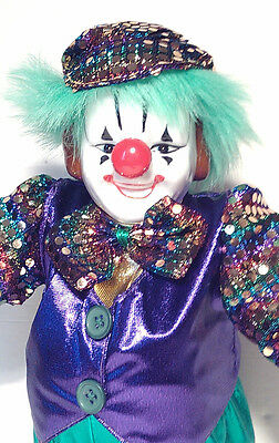 """New 12"""" Mardi Gras White face Clown Doll New Orleans ShowStoppers Porcelain G902"""