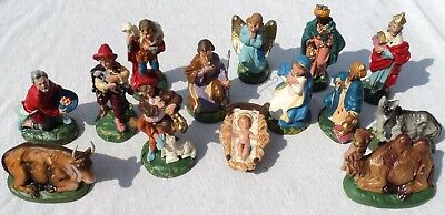14 Vtg Early Fontanini Hand Painted Paper Mache Nativity Figures Italy Xmas