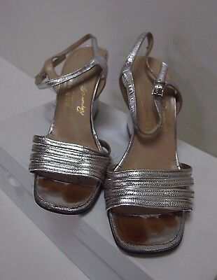 Vintage Shoes Strappy Silver Leather Wedge, Bruno Magli Raymond Castles, Size 36