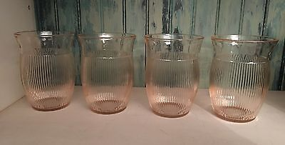 """Pink Depression Glass Cups  4"""" Water Tumbler Jeannette Glass 1939-49"""