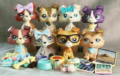 8Lot Authentic Hasbro Littlest Pet Shop LPS Collie Dog +10Lot Random Accessories