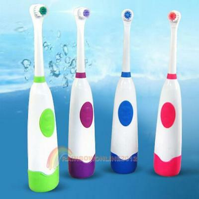 Rotating Anti Slip Waterproof Electric Toothbrush with 2 Brush Heads Replacement