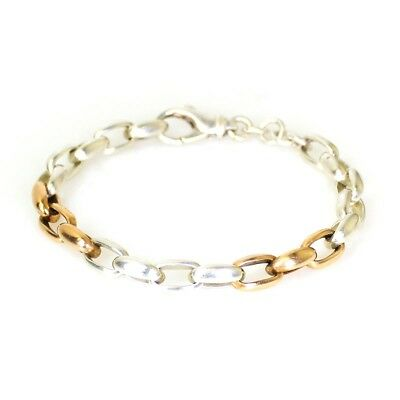 Heavy Sterling Silver Rose Gold Accents Big Links Bracelet FREE EXPRESS POST 193