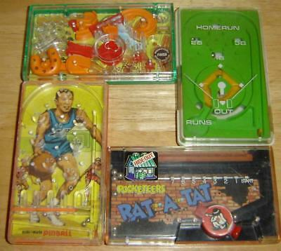 4 VINTAGE 1970's POCKET HAND HELD GAMES STEEPLECHASE HOME RUN RAT-A-TAT PINBALL