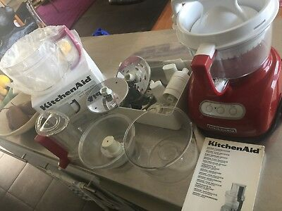 Kitchen Aid Artisan Food Processor with all attachments - red