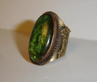 Vintage Chinese Intaglio Green Glass Buddha Dragon Phoenix Copper Ring Signed